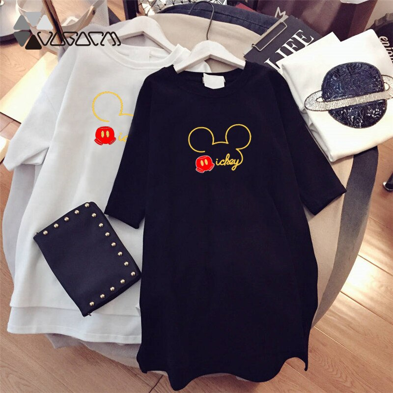 Summer Fashion Women Dresses Minnie Mickey Mous Cartoon Print Clothes Loose Women Clothing Big Size Cute Mini Dress Black - thegsnd