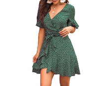 Load image into Gallery viewer, Summer mini dress 2019 women short dress Sexy V-neck printed wave point green straps female double-layer ruffles beach dress - thegsnd