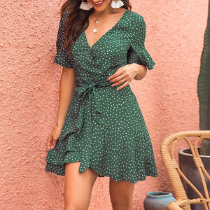 Summer mini dress 2019 women short dress Sexy V-neck printed wave point green straps female double-layer ruffles beach dress - thegsnd