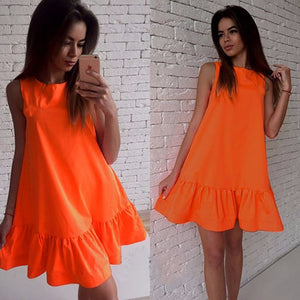Summer solid  women dresses A-line sleeveless ruffles loose elegant dress sweet fashion casual mini beach dresses vestidos LD57 - thegsnd