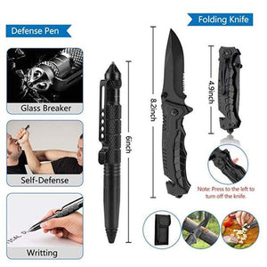 Survival Kit 12 in 1 Fishing Hunting SOS,EDC Survival Gear Emergency Camping Hiking Kit with knife flashlight Emergency blanket - thegsnd
