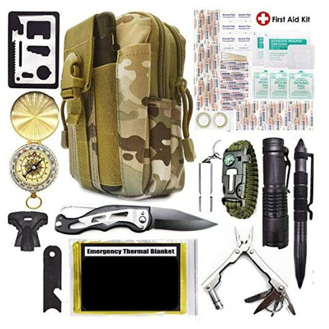 Survival Kit 40-in-1 Outdoor Tactical Tools Emergency Kit First Aid Kit Flashlight Knife Tactical Pen for Camping Hiking Hunting - thegsnd