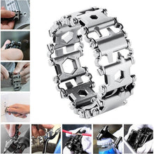 Load image into Gallery viewer, Survival Multi Tools Wearable 29 In 1 Stainless Steel Bracelet Strap Multi-function Screwdriver Outdoor Emergency Kits Multitool - thegsnd