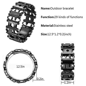 Survival Multi Tools Wearable 29 In 1 Stainless Steel Bracelet Strap Multi-function Screwdriver Outdoor Emergency Kits Multitool - thegsnd