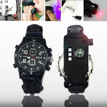 Load image into Gallery viewer, Survival Watch Waterproof Emergency Gear Camping Paracord Bracelet Compass Whistle Thermometer Outdoor Sport Tool First Aid set - thegsnd