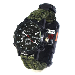 Survival Watch Waterproof Emergency Gear Camping Paracord Bracelet Compass Whistle Thermometer Outdoor Sport Tool First Aid set - thegsnd