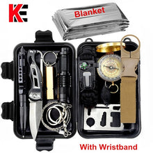 Load image into Gallery viewer, Survival kit set military outdoor travel mini camping tools aid kit emergency multifunct survive Wristband whistle blanket knife - thegsnd