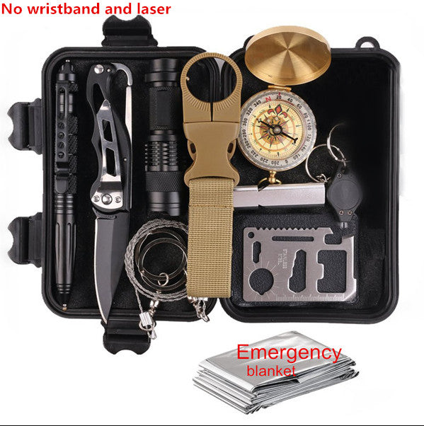 Survival kit set military outdoor travel mini camping tools aid kit emergency multifunct survive Wristband whistle blanket knife - thegsnd