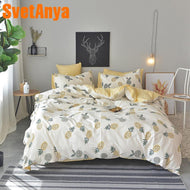 Svetanya Pineapple Bedsheet Pillowcase Duvet Cover Sets 100% Cotton Bedlinen Twin Double Queen King Size Bedding Set-Kids Sleeping Kit-thegsnd