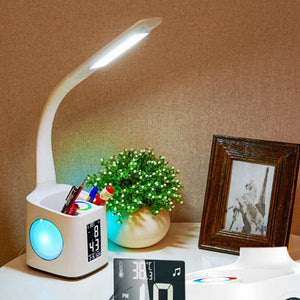 TOP!-Plug EU,Led Eye Protect Dimmable Desk Lamp Led Foldable Reading Table Lamp Light Rgb Press Control Calendar Alarm Clock Tem - thegsnd