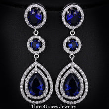 Load image into Gallery viewer, ThreeGraces Elegant Micro Pave AAA+ CZ Stone Long Big Royal Blue Crystal Bridal Wedding Earrings Jewelry For Brides ER018 - thegsnd
