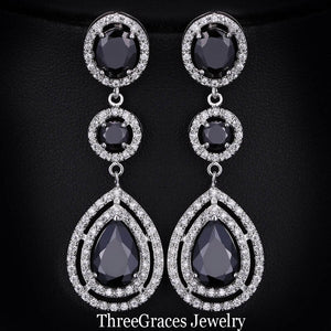 ThreeGraces Elegant Micro Pave AAA+ CZ Stone Long Big Royal Blue Crystal Bridal Wedding Earrings Jewelry For Brides ER018 - thegsnd