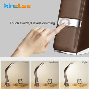Touch Dimmable LED Table Lamp Business Desk Lamp Skin Leather Texture USB Reading Lamp Display Alarm Clock Office/Reading Room - thegsnd