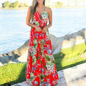 VIEUNSTA Boho V-neck Floral Print Women Dress Summer Sleeveless Beach Long Dress 2019 Sexy Backless Criss Cross Strap Maxi Dress-Women's Clothing-thegsnd