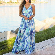 Load image into Gallery viewer, VIEUNSTA Boho V-neck Floral Print Women Dress Summer Sleeveless Beach Long Dress 2019 Sexy Backless Criss Cross Strap Maxi Dress-Women's Clothing-thegsnd