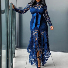 Load image into Gallery viewer, Vintage Party Sexy Black Lace Long Dress Plus Big Size Large M-XXXL 4XL Women Mesh Hollow Bodycon Blue African Maxi Dress Ladies - thegsnd