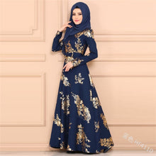 Load image into Gallery viewer, WEPBEL Muslim Evening Maxi Dress Casual Loose Tunic Dress Long Sleeve Women Islamic Muslim Dress Dubai Abaya Kaftans Robes - thegsnd