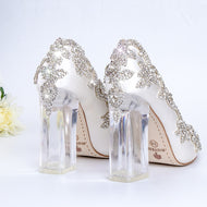 Wedding Shoes Bride Clear Heels Crystal Pumps Christmas Day Evening Party Luxury Queen Satin Silk 10cm Square Heel Plus Size 10 - thegsnd
