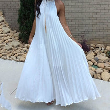 Load image into Gallery viewer, White Maxi Dress Women 2019 Sexy Off Shoulder Sundress Party Elegant Summer Loose Fashion Solid Halter Blue Pleated Long Dresses - thegsnd