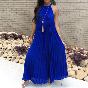 White Maxi Dress Women 2019 Sexy Off Shoulder Sundress Party Elegant Summer Loose Fashion Solid Halter Blue Pleated Long Dresses - thegsnd