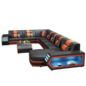 Wholesale Custom electrical recliner sofa set with led lights, l shaped fabric recliner sofa, corner recliner 7 seater - thegsnd