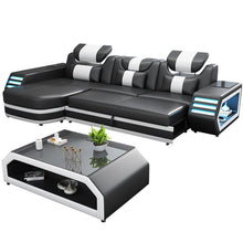 Load image into Gallery viewer, Wholesale Custom electrical recliner sofa set with led lights, l shaped fabric recliner sofa, corner recliner 7 seater - thegsnd