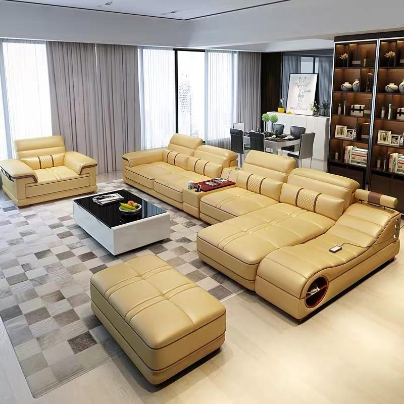 Wholesale Living Room Furniture Cheap Leather Corner Sofa Set 6 7