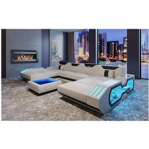 Wholesale living room furniture leather corner sofa set 7 seater sectional sofa with Led light - thegsnd
