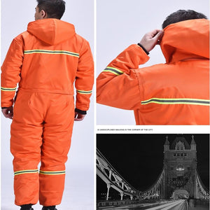 Winter Overalls Warm Cotton Padded Hooded Work Clothing Dust-Proof Anti Fouling Fishing Outdoor Winter coats Working Coveralls - thegsnd
