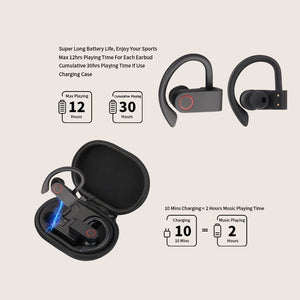 Wireless Sports Headphones TWS Bluetooth 5.0 Earphones Ear Hook Running Noise Cancelling Stereo Earbuds With MIC IPX4 Waterproof - thegsnd