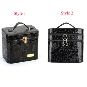 Women Alligator Cosmetic Box Designer High Quality Portable Cosmetic Bag Large Capacity PU Cosmetic Bag Women Makeup Dedicated - thegsnd