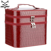 Load image into Gallery viewer, Women Alligator Cosmetic Box Designer High Quality Portable Cosmetic Bag Large Capacity PU Cosmetic Bag Women Makeup Dedicated - thegsnd