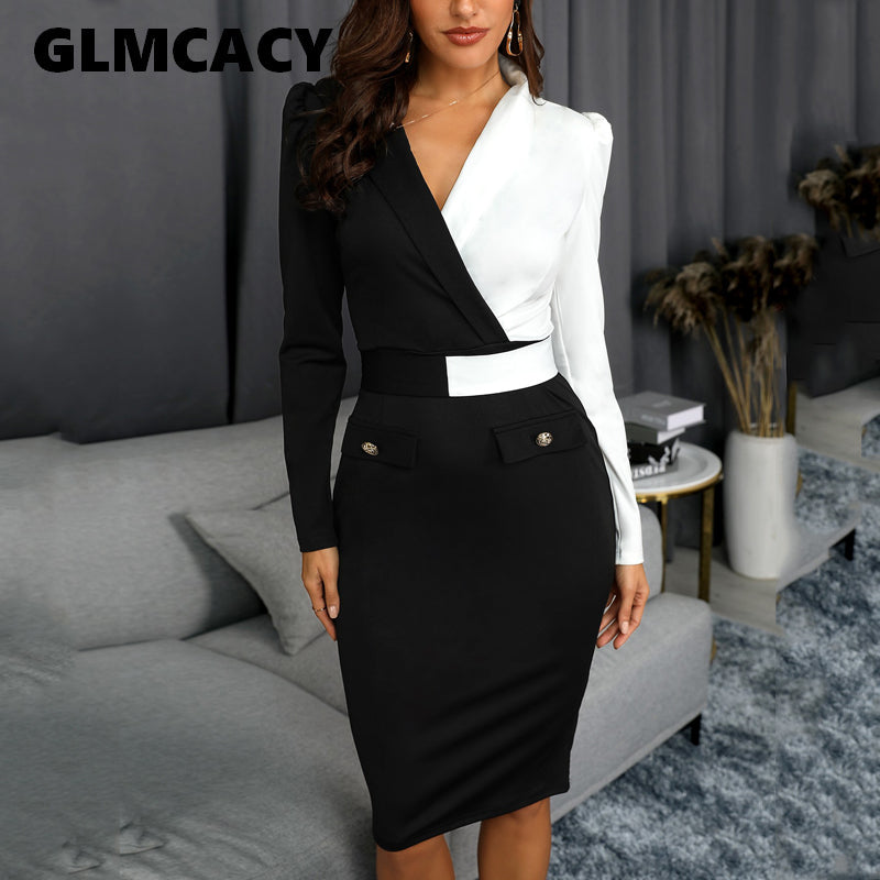 Women Elegant Fashion Office Lady Work Wear Stylish Party Dress Two Tone Metallic Button Midi Bodycon Dress 2019-Women's Clothing-thegsnd