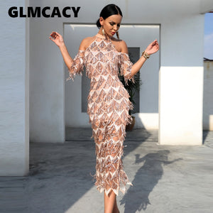 Women Elegant Sequined Evening Party Dress Cold Shoulder Formal Vestidos Mesh Runway Dress Sexy Night Club Tassels Fringe Dress - thegsnd