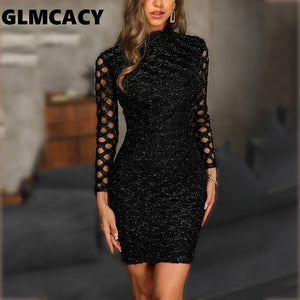 Women Glitter Hollow Out Bodycon Dress Sheath Streetwear Black Above Knee Mini O-Neck Autumn Long Sleeve Party Dress - thegsnd
