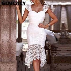 Women Hollow Out Crochet Bodycon Lace Dress Solid Sleeveless Knee-Length  V-Neck Elegant Summer Sheath Party Dress - thegsnd