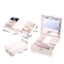 Load image into Gallery viewer, Women PU Leather Fashion Jewelry Box Girls Rings Earrings Bracelets Organizer with Mirror Travel Necklace Display Storage Case - thegsnd