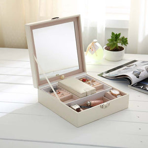 Women PU Leather Fashion Jewelry Box Girls Rings Earrings Bracelets Organizer with Mirror Travel Necklace Display Storage Case - thegsnd