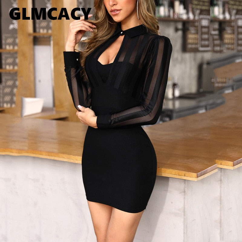 Women Patchwork Slim Fit See Through Sexy Mini Cocktail Party Dresses OL Workwear Sheer Mesh Bodycon Dress - thegsnd
