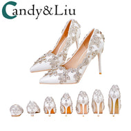 Women Shoes High Heels Wedding Thin Heels White Diamond Glittering Evening Dress Shoe Bride Shoes Crystal Pumps For Party - thegsnd