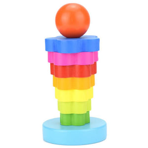 Wooden Blocks Toys Baby Rainbow Stacked Tower Game Kids Early Education Montessori Toys Set Gifts for Kids Christmas Birthday - thegsnd