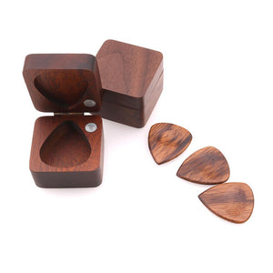 Wooden Guitar Pick Plectrum Storage Box for 4pcs Picks Hold Case Care Tool Guitarra Picks Gift Guitar Accessories - thegsnd
