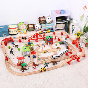 Wooden Train Track Set Dinosaur Wildlife Scene Wooden Train Track Toy Set Brio Railway Magical Bridge Accessories Toys For Child-gaming zone-thegsnd-thegsnd