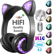 Load image into Gallery viewer, YITEK KL05 Bluetooth Stereo Cat Ear Headphones Flashing Glowing Cat Ear Earphones Gaming Headset Earphone 7 Colors LED light - thegsnd