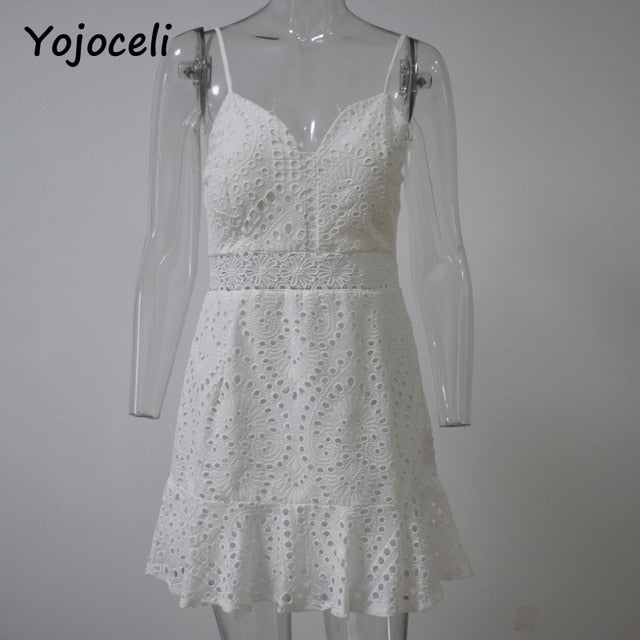 Yojoceli Hollow out floral white lace mini dress Sleeveless strap party dresses women Summer beach short fitness dress vestidos - thegsnd