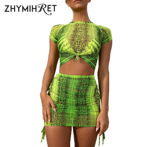 ZHYMIHRET Neon Snake Print Mesh Two Pieces Set Women Summer Dress Side Ruched Short Sleeve Skinny 2 Pieces Set Sexy Vestidos - thegsnd
