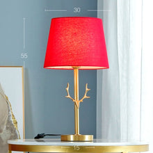 Load image into Gallery viewer, art deco wedding decoration red table lights gold deer bed room lamp living lighting - thegsnd