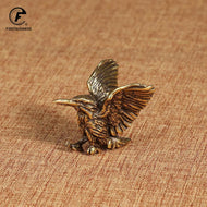brass solid copper Open Wing mini Eagle Bird Art Model Home Living Room Office Tea house Yoga room Decor Statues sculpture Gift - thegsnd