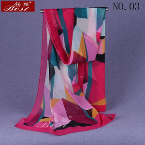 chiffon scarf winter ponchos woman print plaid designer luxury brand ladies hijab head wrap sjaal stoles spring ethnic schal new - thegsnd