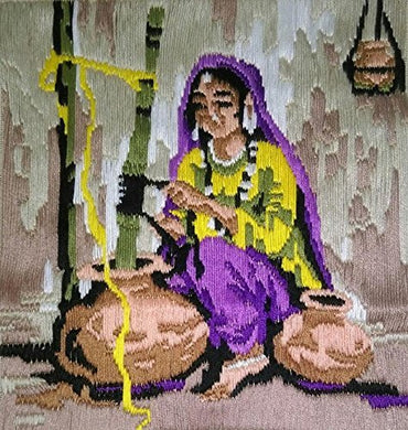 A Woman Churning Butter 🙋 (Multi Color_36*36).-wk_wallet-thegsnd